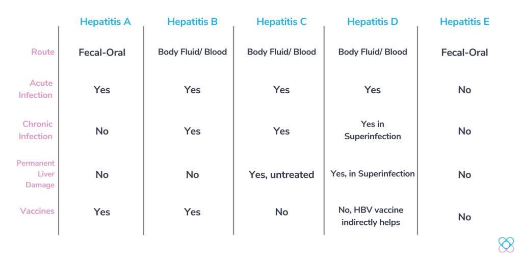 Hepatitis comparisons