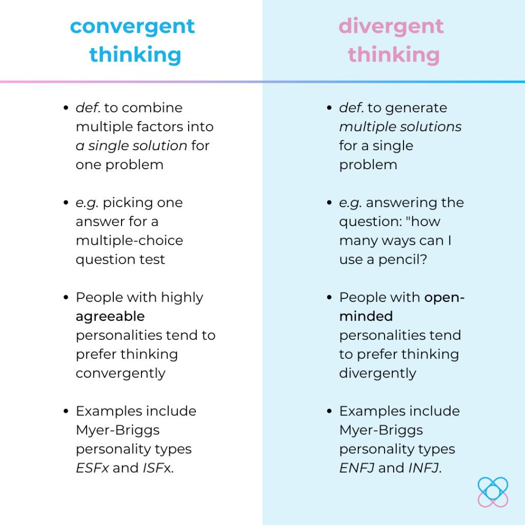 convergent thinking vs divergent thinking