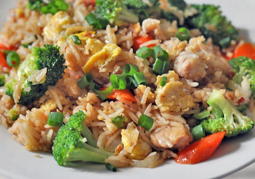 Iron deficiency: Iron can be found in rice, chicken, egg, anchovies and dark leafy vegetables.